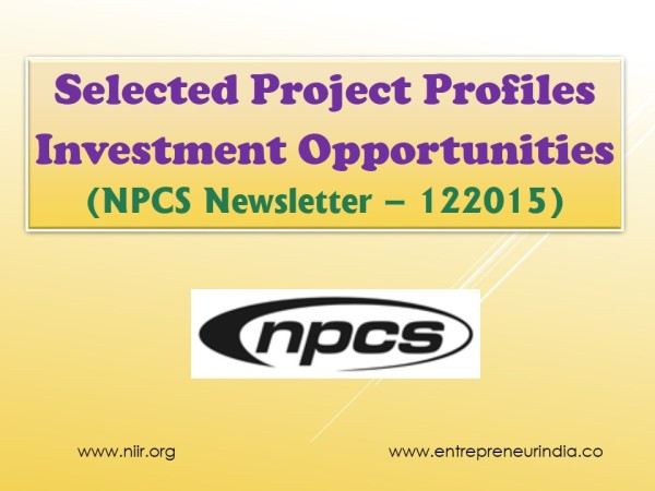 Selected Project Profiles - Investment Opportunities