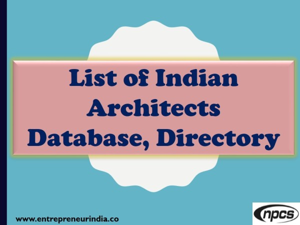 List of architects in India with their email address | Niir