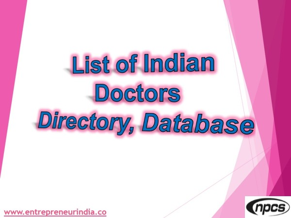 India doctors database xls | Niir Project Consultancy Services