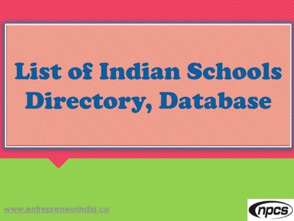 CBSE School database India | Niir Project Consultancy Services